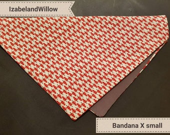 Bespoke Pet dog bandana red/ grey xmas collection tree resersable Fit  over collar small Made in uk IzabelandWillow