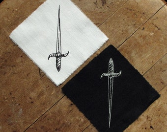 """Ace of Swords - 4x4"""" Screen Printed Sew-On Art Patch"""
