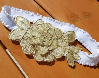 Gold lace flower and white ruffle headband