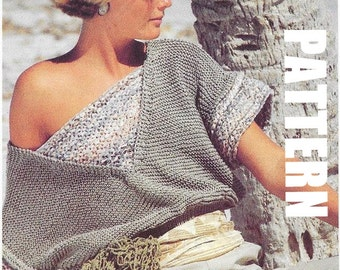 Cotton Off the Shoulder Summer Top, Knitting Pattern, PDF Instant Download, Vintage Ladies Fashion, Textured Top