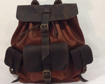 Leather Backpack,Many Pockets Backpack,Brown Backpack,Weekend Travel Backpack,Handmade Leather Bags And Purses For Men And Women