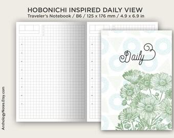 B6 Hobonichi Insert TN  - Traveler's Notebook Printable Planner - Do1P - Minimalist - Daily View