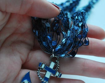 Blue & White Anchor Necklace