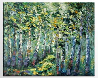 Oil Painting, Original Painting, Forest Tree Painting, Wall Art, Canvas Painting, Large Painting, Wall Art, Abstract Art, Abstract Painting