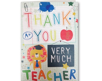 Now 20% OFF Lets Go - Thank you Teacher Card - Best Teacher - Thank you card - Best Teacher Card - Let's Go - LG23