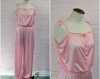 1960s pajama jumpsuit romper · vintage lingerie · pink playsuit  ·slinky spaghetti strap one piece · vintage sleepwear loungewear · small