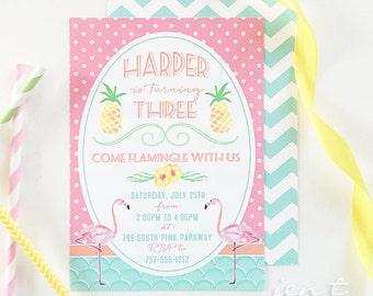 Flamingo Birthday | Flamingo Invitation | Flamingo Party | Birthday Invitation | Flamingo Invite | Tropical Invitation | Pink Flamingo