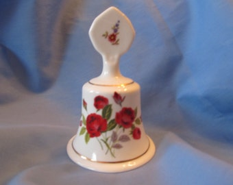 Staffordshire fine bone china bell/ made in England/ red rose print/ missing clapper