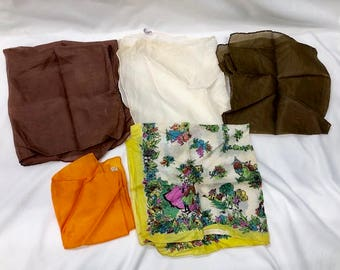 Lot of 5 Vintage Silk, Polyester Hand rolled Hankies Handkerchief. Made in Japan and America. Large Brown, Orange, Cream and Colorful.