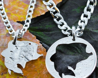 Fishing Jewelry, Bass fishing couples necklace set, Hand Cut Coin