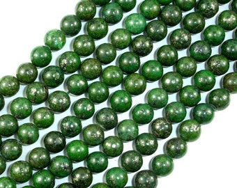 Green Chalcopyrite, 8mm Round Beads, 16 Inch beads, Full strand, Approx 50 beads, Hole 1mm (264054002)
