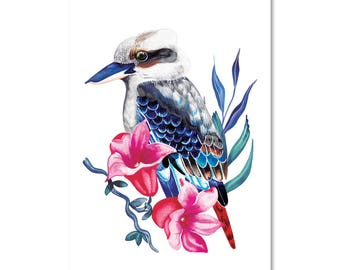 Kookaburra  with Botanicals -Print