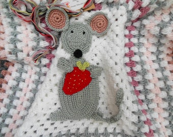 Crochet Mouse Baby Blanket, Mouse Blanket, Crochet Afghan, Cute Strawberry Mouse Design Travel Blanket, Quiet As A Mouse Summer Baby Gift