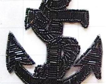 "Black Anchor Appliqué, All Beads 4.5"" x 3.5""  -JJ620Blk-B075-0345"