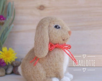 Easter bunny, needle felted bunny, felted rabbit, wool, miniature bunny, tiny bunny, needle felted animal, Easter decoration, spring decor