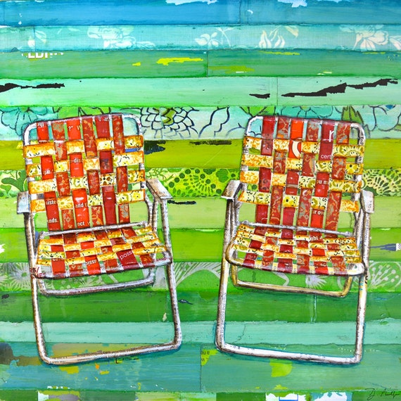 ART PRINT o CANVAS Retro lawn chairs seats vintage antique summer print relax wall home decor retirement vacation gift for him, All Sizes