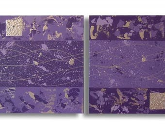 Abstract painting diptych modern gray purple violet contemaporain of chiaradeco