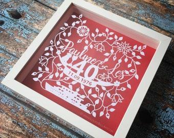 40th Anniversary Framed Papercut.  Handmade - Handcut - Personalised