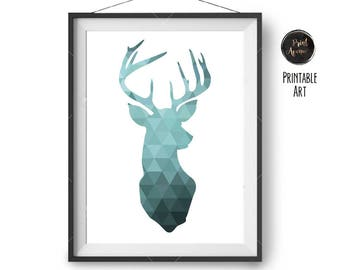 Turquoise Dear Head Print Teal Deer Wall Decor Geometric Deer Poster Teal Wall Art Triangle Deer Art Deer Home Decor Teal Decor Nursery Art