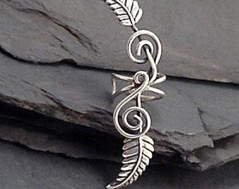 Sterling Leaf EAR CUFF - TENDRILS -  Silver Spiral Handcrafted Ear Wrap Earwear 925