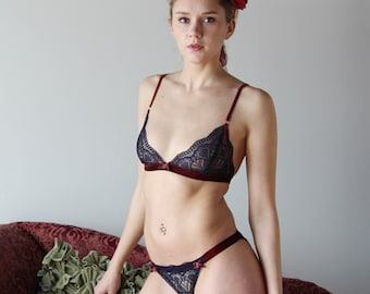 lace lingerie set with triangle bralette and bikini panties with contrast stretch velvet trim - ready to ship - size Small
