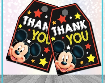 Mickey Mouse Party Favor Tags Mickey Mouse Party Favor Mickey Mouse Birthday Decorations Mickey Party tags Mickey Mouse Thank You Tags