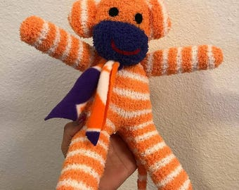 Tiger sock monkey ready to ship