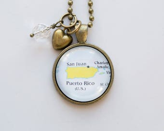 Map of Puerto Rico - Map Pendant - Custom Jewelry Travel Necklace Caribbean San Juan Hispaniola Personalized Jewelry Adoption Missions Gift