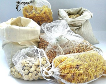 5 produce bags for zero waste/ bulk shopping / plastic bag replacement / drawstring / recycled, sustainable eco friendly