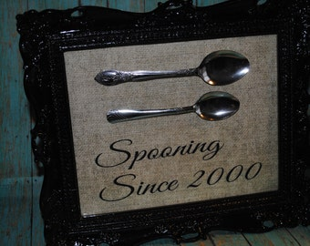"Custom ""Spooning Since"" your year.  Kitchen Sign Wedding Gift"