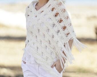 Handmade handknit women poncho / wrap / shawl / capelet in baby alpaca / merino wool blend - sizes S/M-L/XL-XXL/XXXL