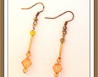 Handmade MWL dangle orange earrings 0058