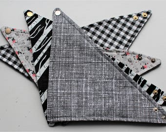 Bandana Bibs Set - Set of 4 - Bibdana - Baby Bandana Bib - Drool Bib - Adjustable Snaps