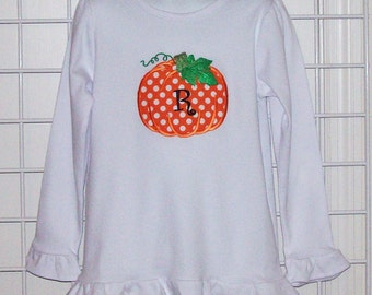 monogrammed polka dot pumpkin long sleeve shirt pumpkin