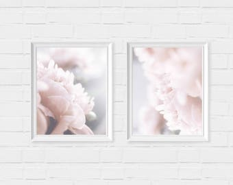 Set of 2 Peony Art Prints - Instant Digital Download - Floral Wall Art - Peonies Decor - Minimalist Photography - Botanical Artwork - Modern