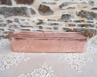 Vintage French Martele Copper Fish Pan.