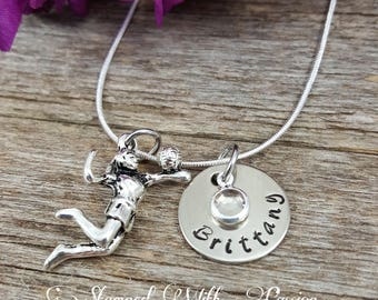 Volleyball Jewelry, Volleyball Necklace, Girl Volleyball Necklace, Volleyball gifts, Volleyball Girl, Volleyball Team Jewelry, Hand stamped