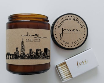 Unique Engagement Gift Personalized Candle Gift for Couple City Skyline Best Wedding Gift Holiday Gift Soy Candle Christmas Gift for Her