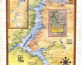 "65 A new map of Lake Coeur D'Alene Idaho 11x14""  vintage historic antique map poster print"