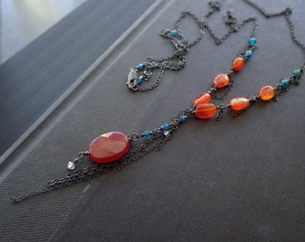 Oxidized Silver Carnelian Long Necklace, Apatite Bohemian Drop Pendant, Victorian, Vintage, Boho, Faceted,Y,Teal,Orange,Long,Sterling,Rustic