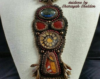 Jewels of the Earth:  Cherry Creek Jasper,  Ammonite,  Fossils and Laboradite  Bead Embroidery Pendant