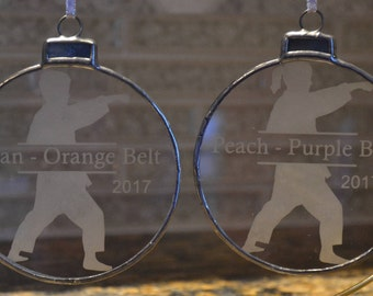 Free Shipping | Personalized Karate Etched Glass Ornament - Choice of 2 Designs | Personalized Christmas Ornament | Martial Arts Gift