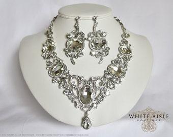 Wedding Jewelry Set, Statement Necklace, Crystal Necklace, Bridal Jewelry Set, Vintage Style, Rhinestone Necklace, Chunky Necklace