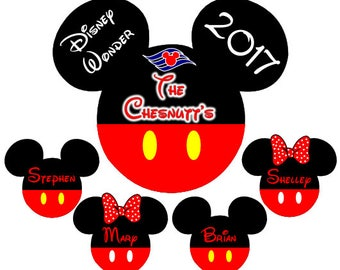 Disney Cruise Magnets for Door, Large Mickey with Smaller Mickey and Minnie Heads, disney cruise line, disney cruise magnet, Family Magnet