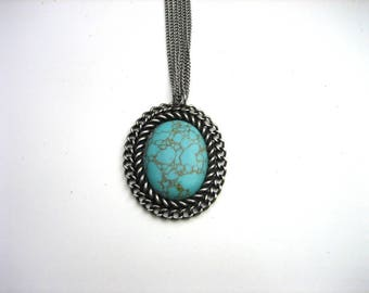 Early 90's Women's Triple Link Chain Pendant Necklace w/ Large Turquoise Bead