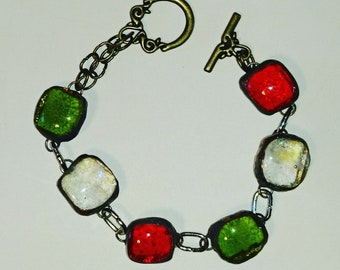 Murano glass in fusing glass red dichroic fused glass bracelet
