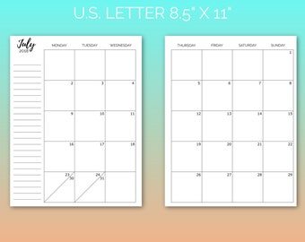 3Q Jul-Sep Dated Monthly Inserts | Printable Planner, 3Q 2018 Monthly, Planner Insert, Blog Planner, School Planner | PDF | Instant Download