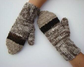 Ugly Mittens, Crochet Mittens, Classic Wool Mittens, Handspun Wool Mitten, Hand Warmers, Wool Gloves, Handmade Mittens, Brown Mittens