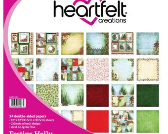 """Heartfelt Creations Festive Holly Paper Collection 12"""" x 12"""" HCDP1-280"""