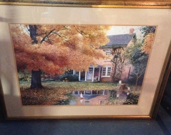 Ned young fall landscape portrait, professionally framed print, perfect for fall, beautiful centerpiece, incredible art sale, autumn days